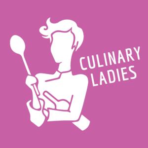 Log Culinary Ladies, Quadrat weis auf fuchsia